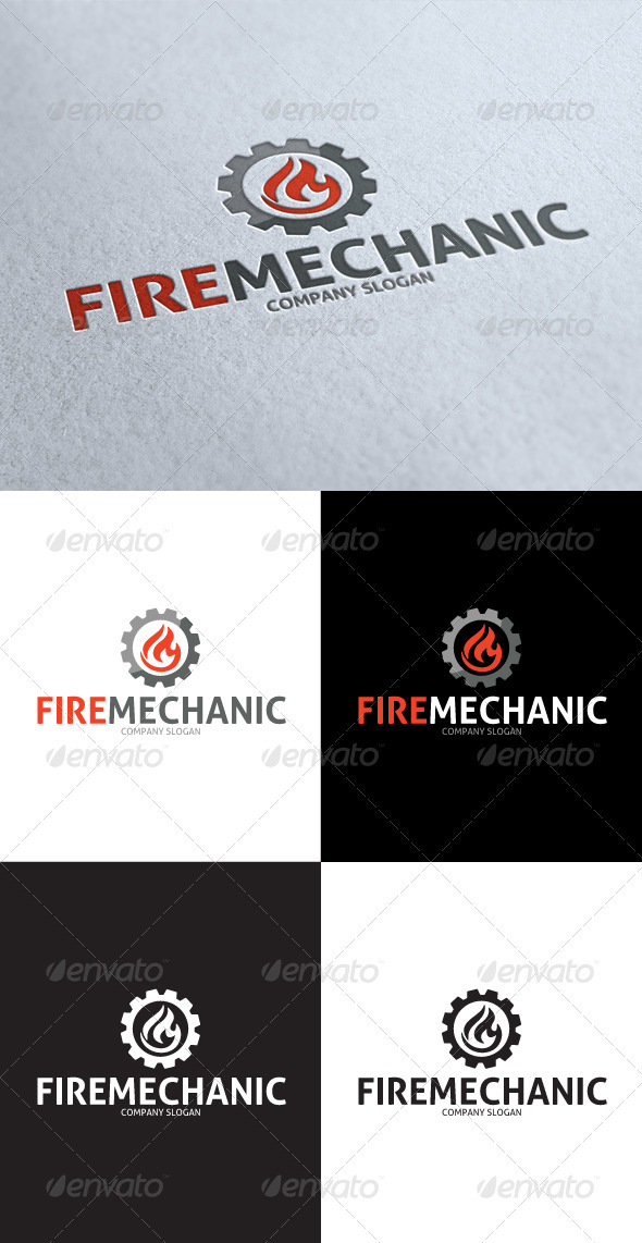 GraphicRiver Fire Mechanic Logo 3545779