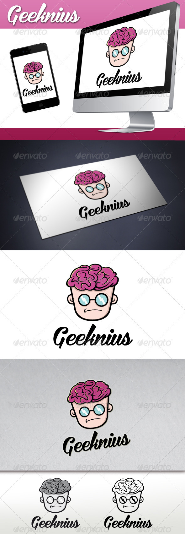 GraphicRiver Geek Genius Logo 3544701