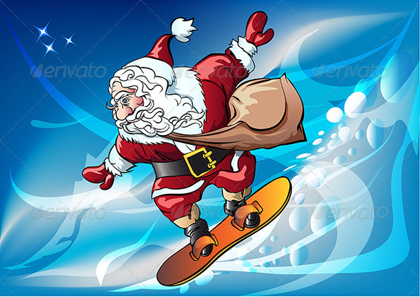 GraphicRiver Santa Claus on the Snowboard 3545843
