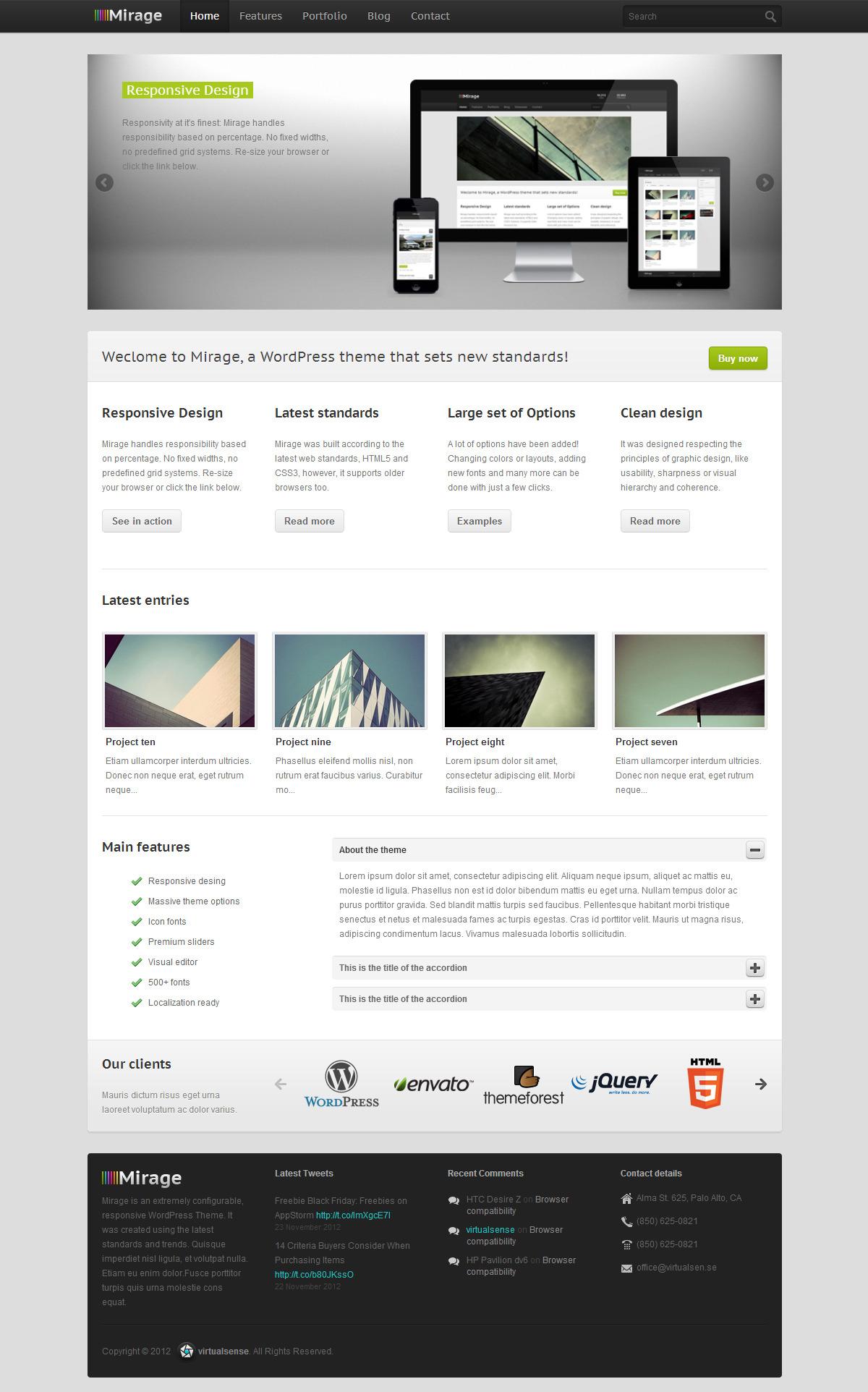 Mirage - Premium Responsive WordPress Theme