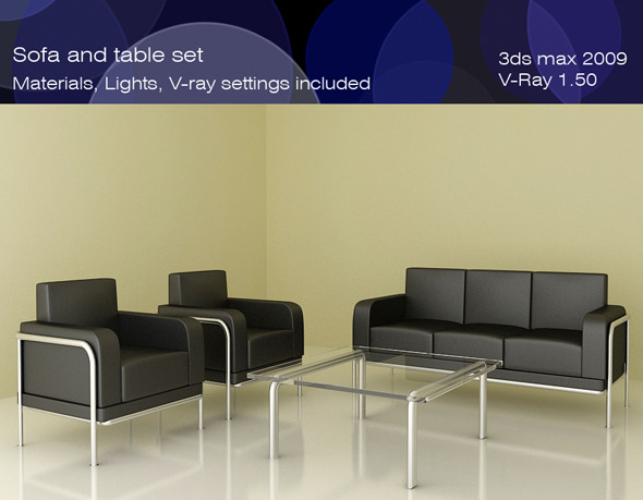 Sofa and Table set - 3DOcean Item for Sale