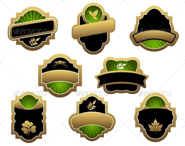 Set of Vintage Labels - Decorative Symbols Decorative