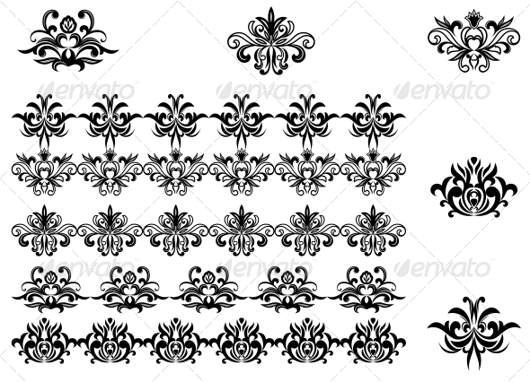 GraphicRiver Flower Patterns and Borders 3545901