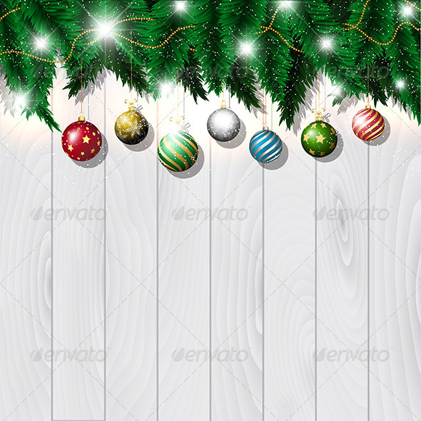 GraphicRiver Christmas Baubles on Wood 3545941