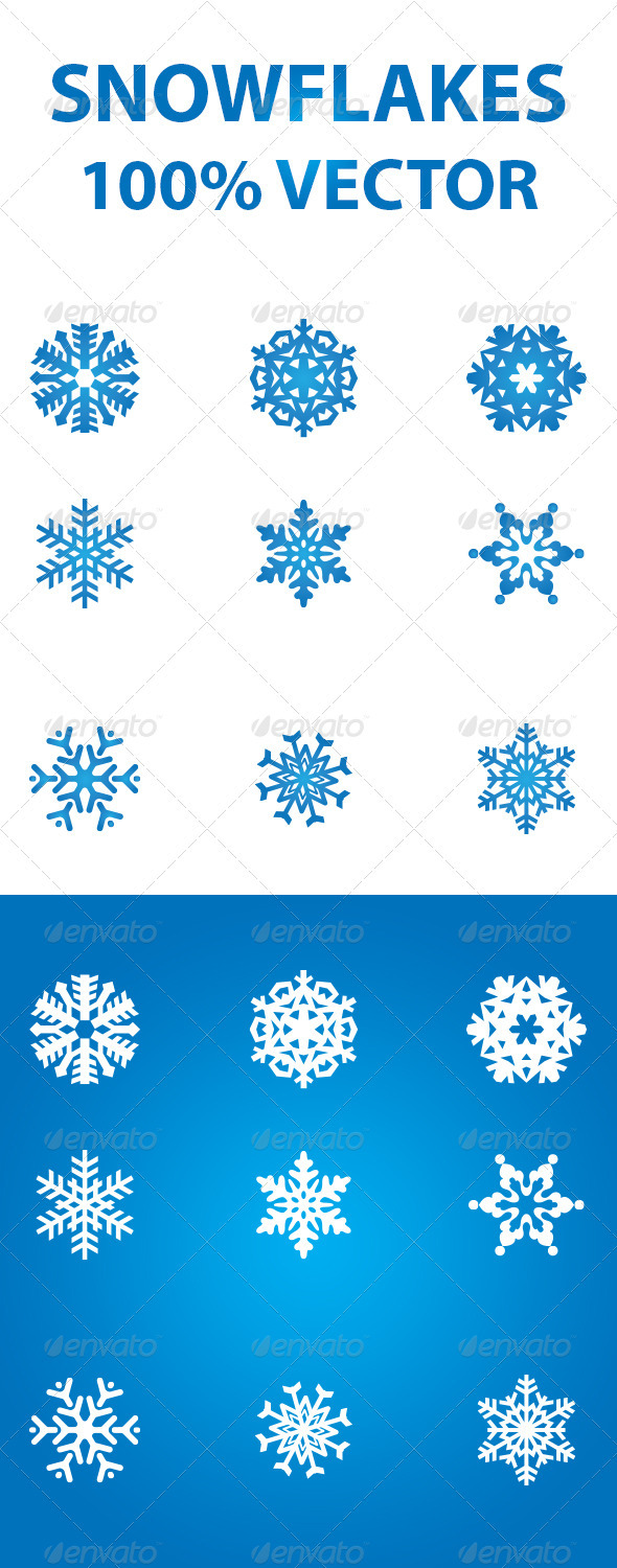 GraphicRiver Snowflakes 100% Vector 3546548