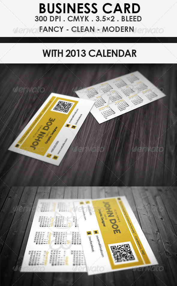 GraphicRiver Calendar Business Card 3547406