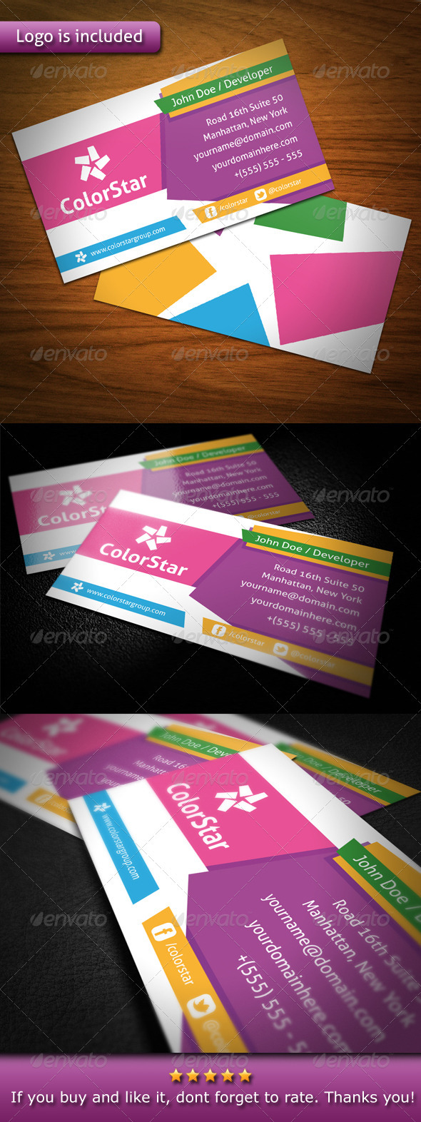 GraphicRiver Color Star Creative Business Card 3547818