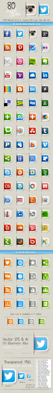 80 Social Media Icons - Icons