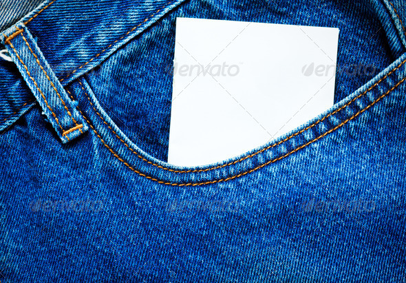 Blank paper in jeans pocket - Stock Photo - Images