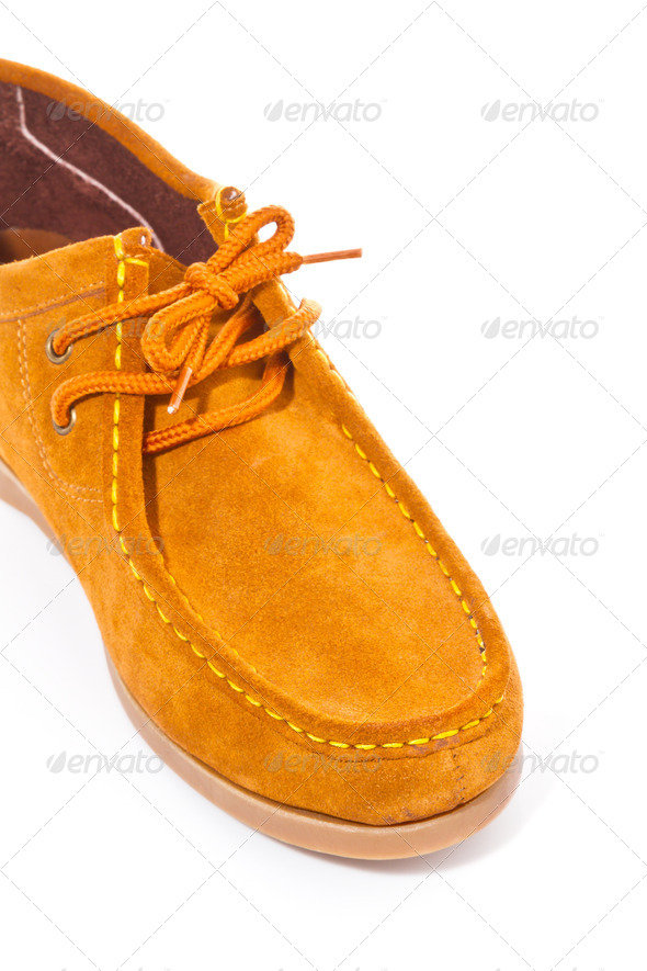 Brown shoe on white background - Stock Photo - Images