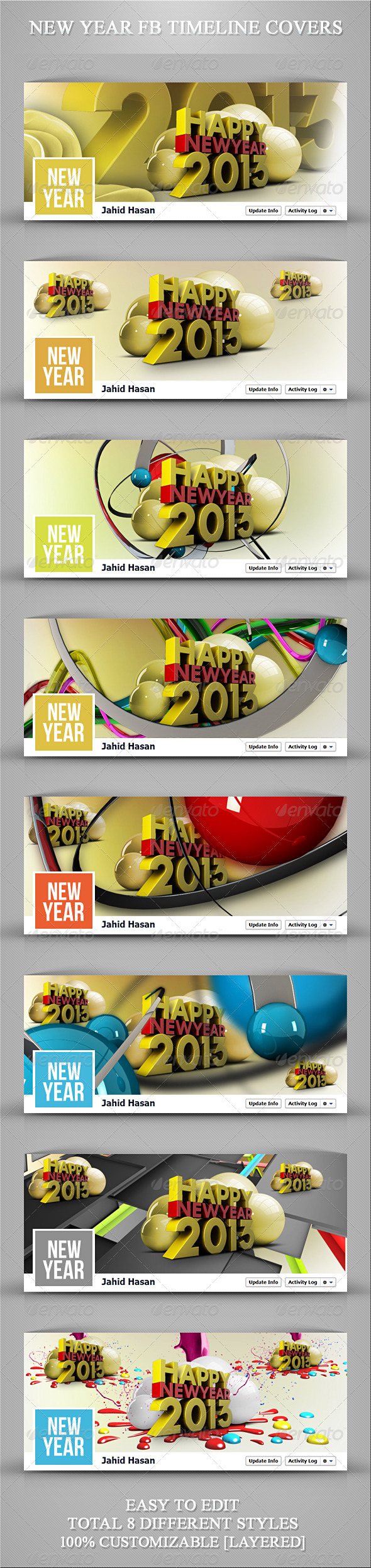 GraphicRiver New Year FB Timeline Covers 3548585
