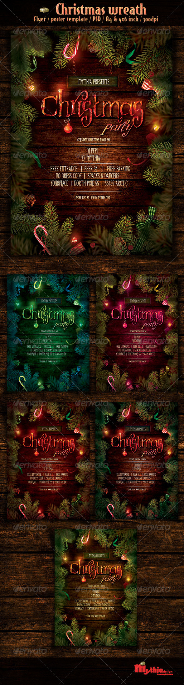GraphicRiver Christmas Wreath Event Flyer Poster Template 3548586