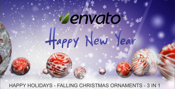 VideoHive Happy Holidays Falling Christmas Ornaments 3522299