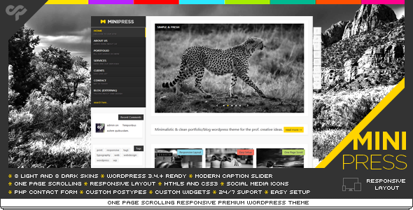 MiniPress - Responsive WordPress One Page Theme