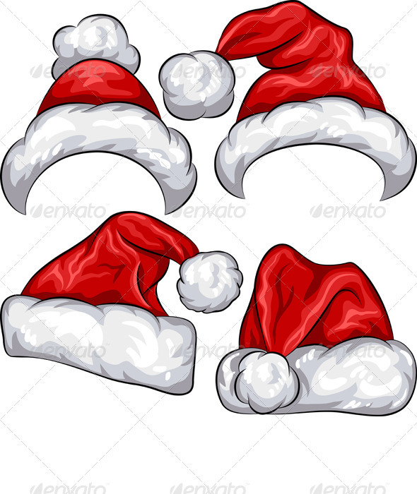 GraphicRiver Vector set Red Christmas Santa Claus hats 3549330