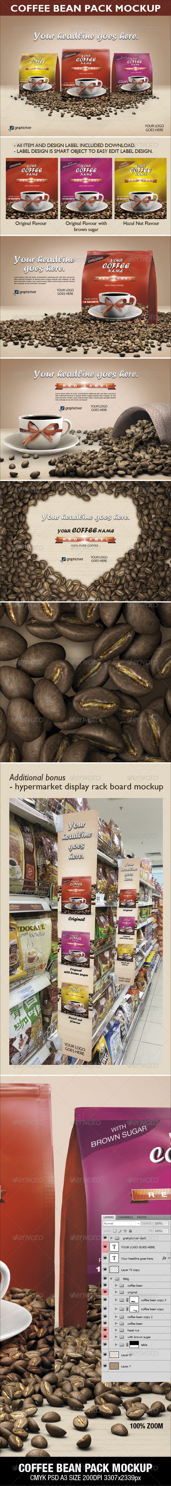 GraphicRiver Coffee Bean Pack Mock-up 3549344