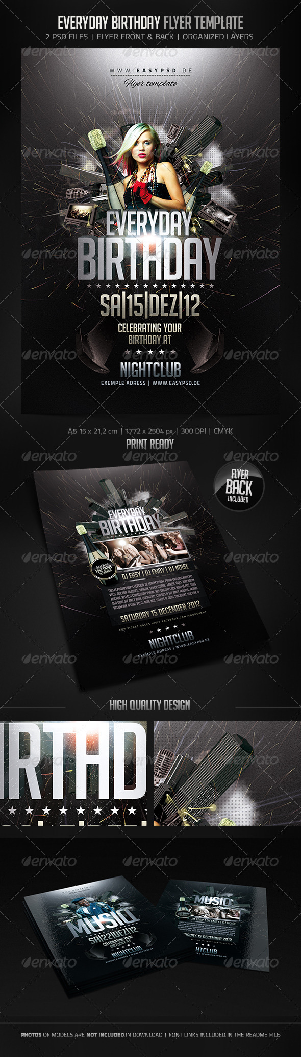 Everyday Birthday Flyer - Clubs & Parties Events