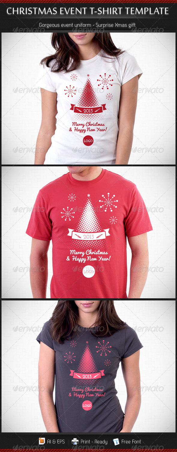GraphicRiver Christmas and New Year Event T-Shirt Template 3550281