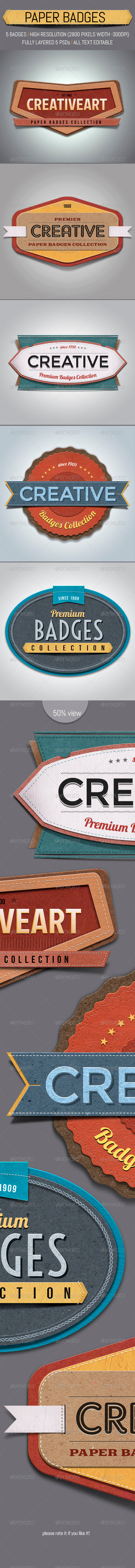 GraphicRiver Paper Textured Badges 3550553