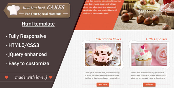ThemeForest JustCakes responsive html5 for bakery items 3546097