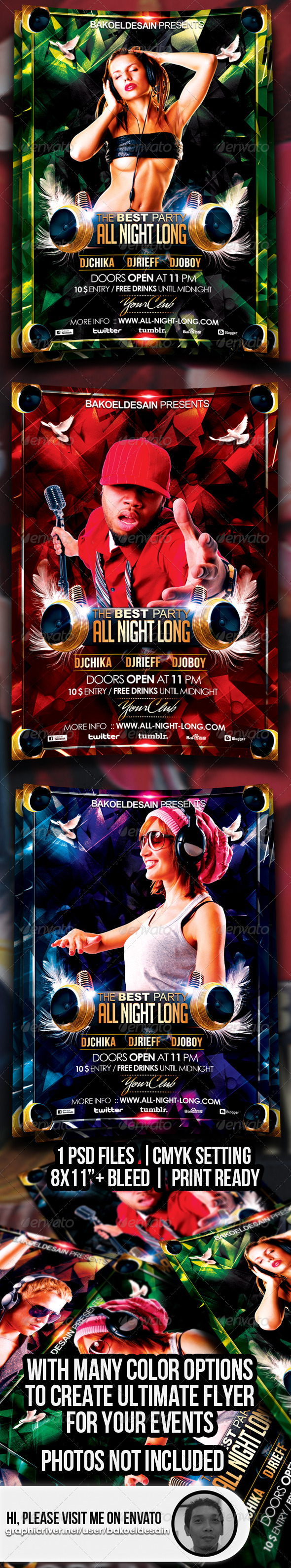 GraphicRiver All Night Long Party Flyer 3551649