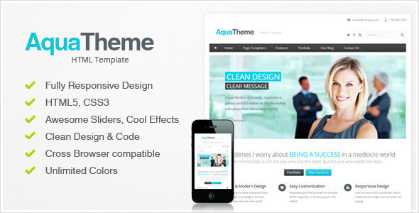 Aqua - Responsive HTML Template - Corporate Site Templates