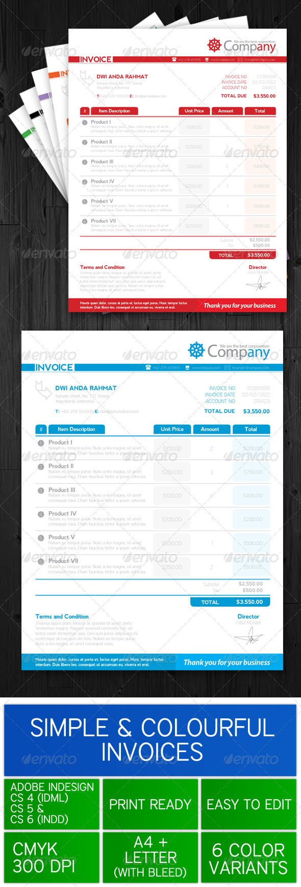 GraphicRiver Simple & Colourful Invoice Template 3491920