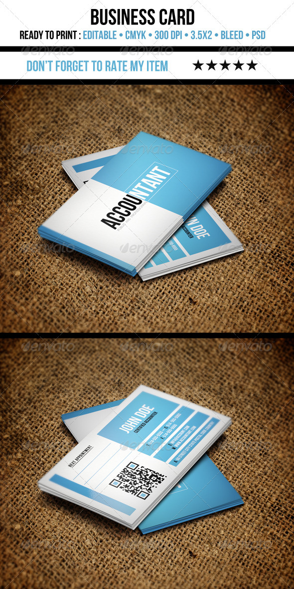 GraphicRiver Accountant Business Card 3552783