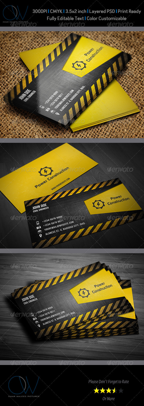 Construction Business Card GraphicRiver