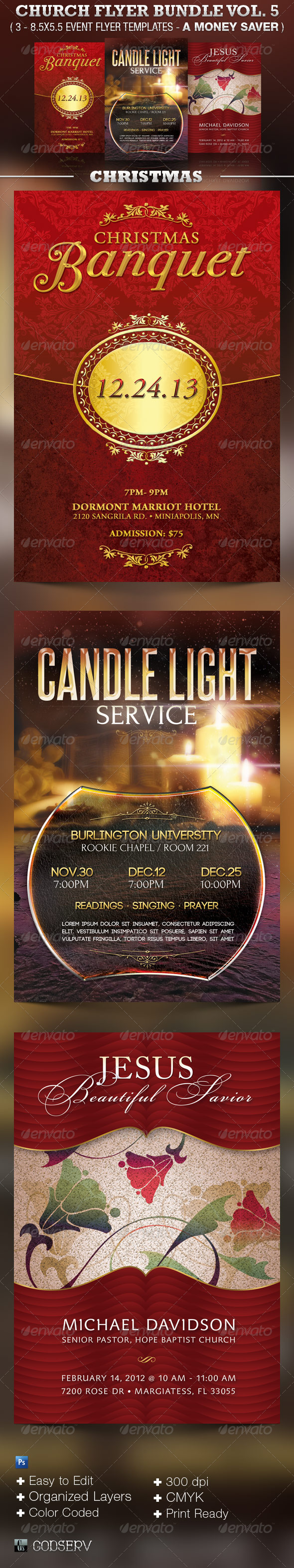 Church Flyer Template Bundle Vol 5 - Christmas - Church Flyers