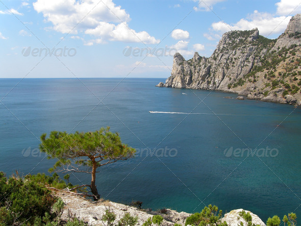 Mount guard both Crimea, village new light, the royal beach - Stock Photo - Images