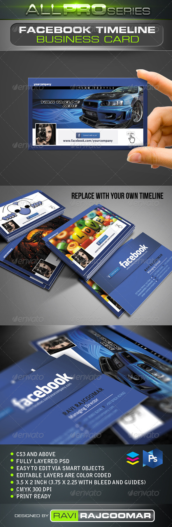 FB Timeline Business Card - Creative Business Cards