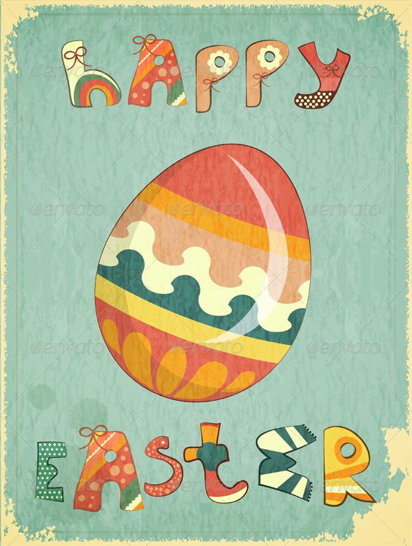 GraphicRiver Retro Easter Card 3554934