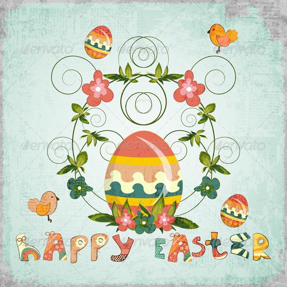 GraphicRiver Retro Design of Easter Card 3554938