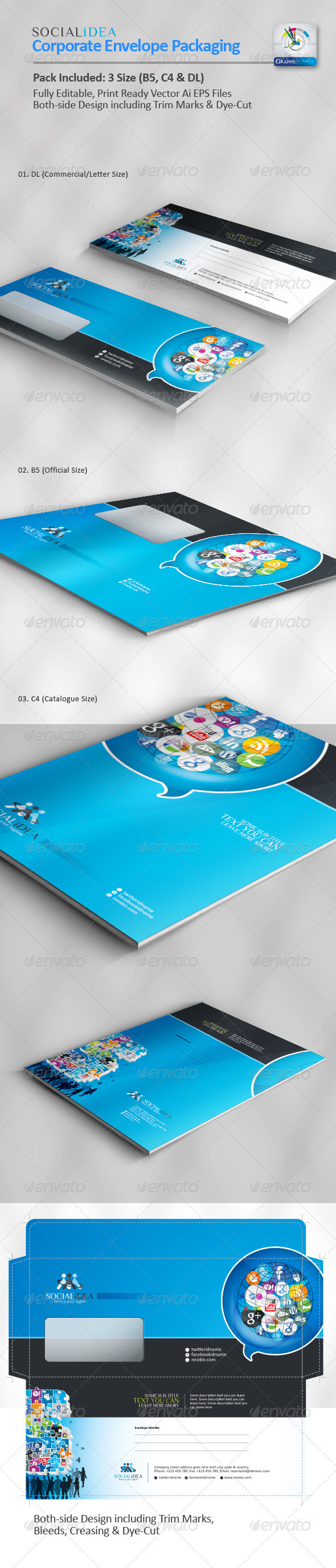 Socialidea Corporate Social Media Envelope Pack - Packaging Print Templates