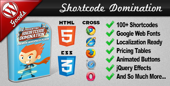 Shortcode Domination - CSS3 Graphics voor WordPress - WorldWideScripts.net Item te koop
