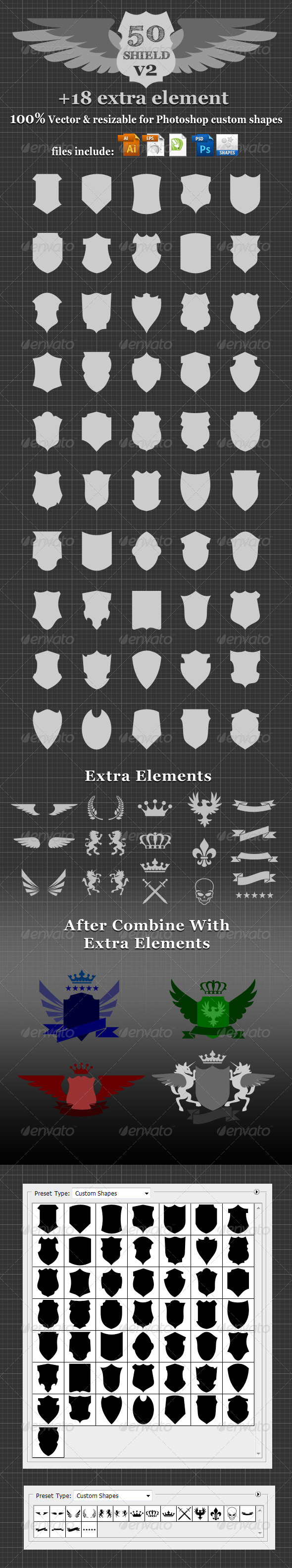 GraphicRiver 50 Shield v2 Custom Shapes 3445525
