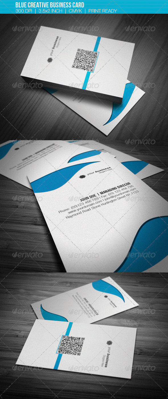 GraphicRiver Blue Creative Business card 3555698