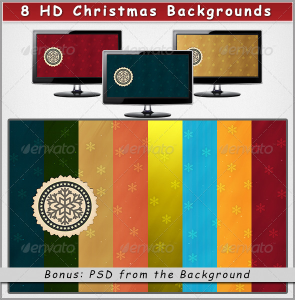 GraphicRiver 8 HD Christmas Backgrounds on Different Colors 3556298