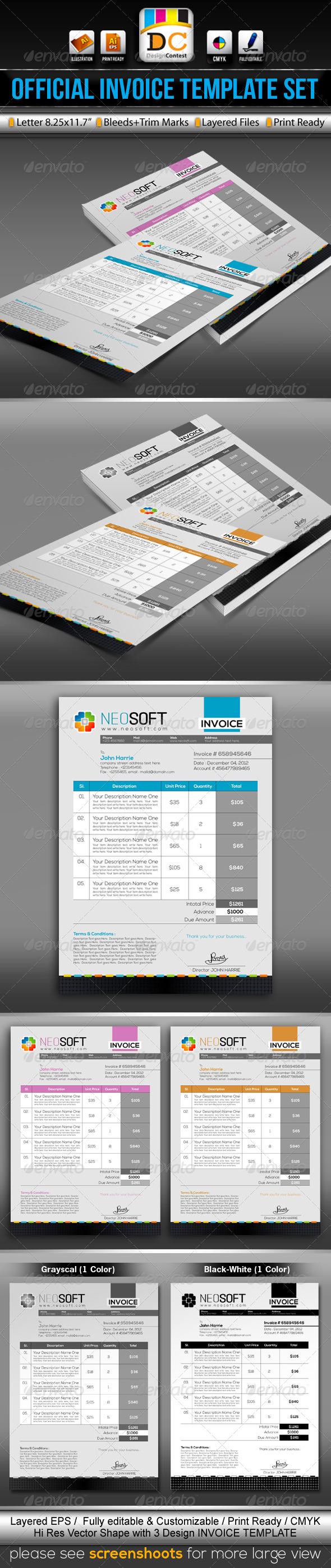 GraphicRiver NeoSoft Official Invoice Cash Memo Template Set 3557020