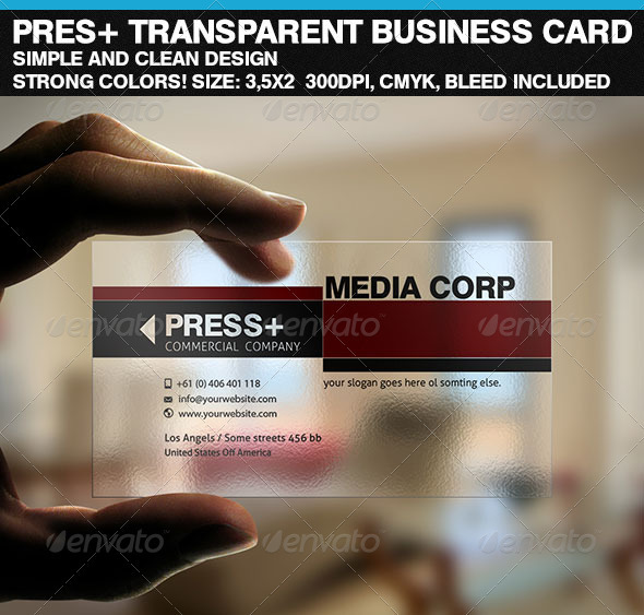 PresCorp Transparent Business Card - Corporate Business Cards