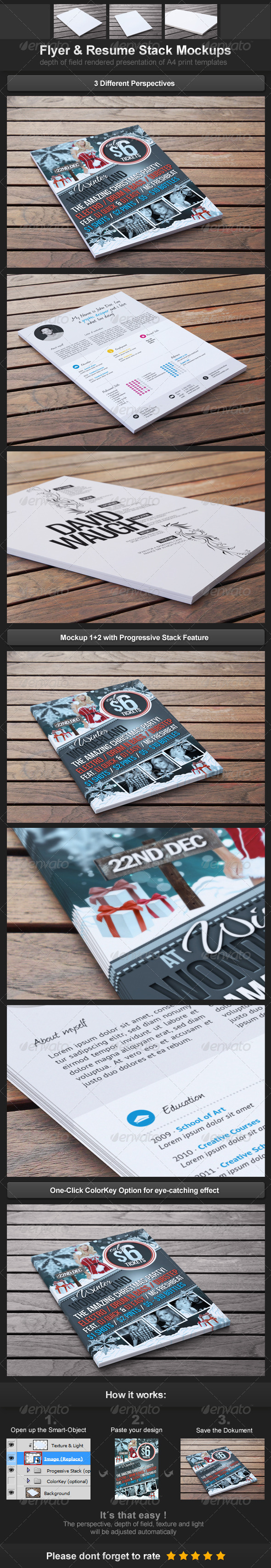 Flyer & Resume Stack Mockups - Flyers Print