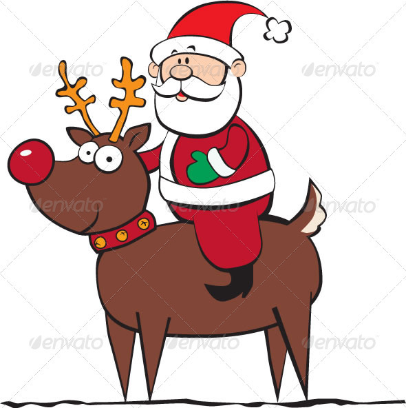 GraphicRiver Santa Riding a Reindeer 3557698