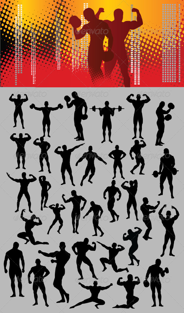 GraphicRiver Bodybuilder Silhouette 3558086