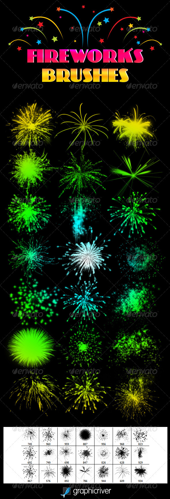 GraphicRiver Fireworks Brushes 3525364