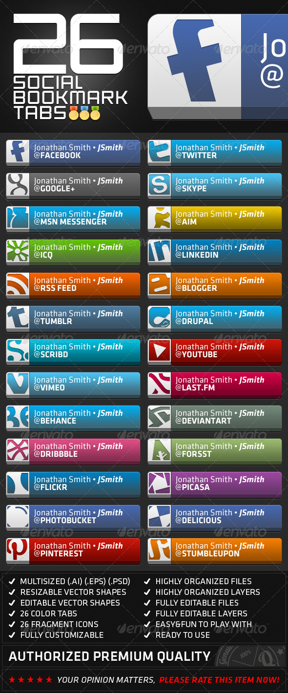 GraphicRiver 26 Social Bookmark Tabs 3054821