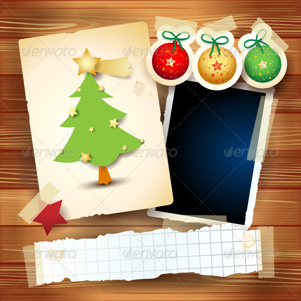GraphicRiver Christmas Card with Paper Elements 3558463