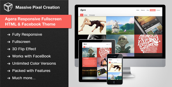 ThemeForest Agera Responsive Fullscreen HTML Facebook Theme 3558990