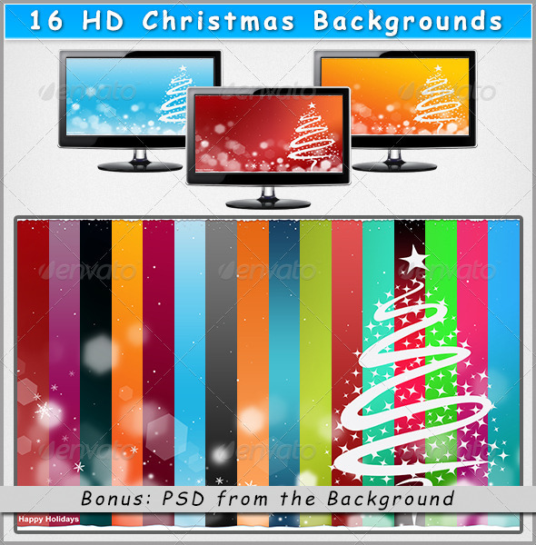 GraphicRiver 16 HD Christmas Backgrounds on Different Colors 3559034
