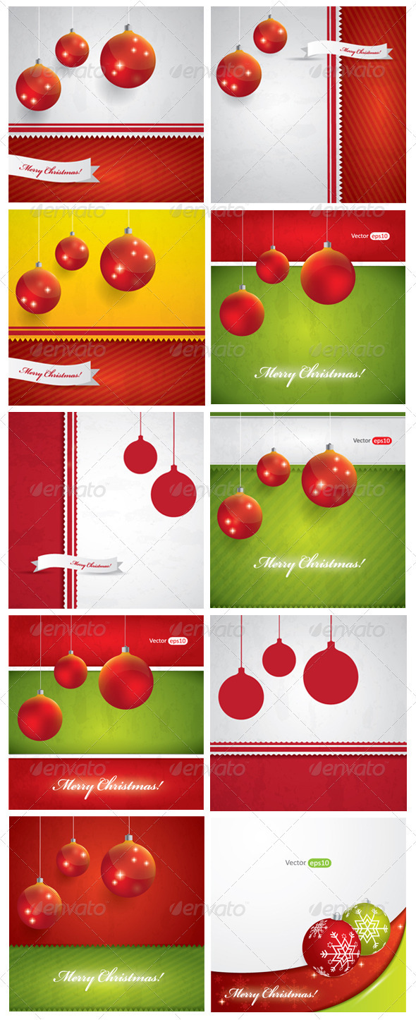 GraphicRiver Abstract Christmas Background Set 3559910